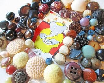 Vintage Button Lot, Chunky Buttons, Half Pound,  Round Buttons, Artists Destash, Button Mix, Coat Buttons, Bulk Button  Lot