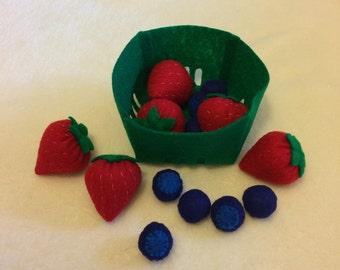 Felt Berry Basket Set, Blueberries & Strawberries, Felt Food, Play Food, Fake Food, Photo Props