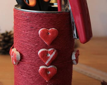 Pencil holder - salt dough and cord red hearts