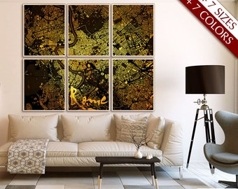 "Rome map art, Large map of Rome, Italy, 8 colors & 8 sizes up to 72x60"" 180x150cm, in 1 piece or 6 parts - Limited Edition of 100"
