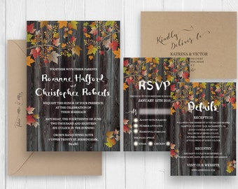 Rustic Fall Wedding Invitations, Fall Leaves Wedding Invitation RSVP  Details, Printed Wedding Invitation,