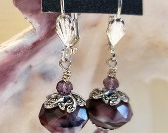 Swirled Purple Briolette Dangles