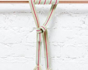 Hand braided mint green and pink wide silk belt / Braided belt / Obijime