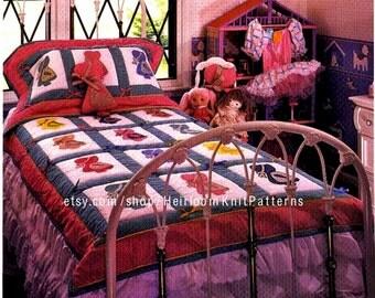 Sunbonnet Sue Quilt Vintage Pattern PDF Little Girls Patchwork Applique Quilt Pattern Twin-Size Quilt 52 x 73'' Instant download PDF - 2205