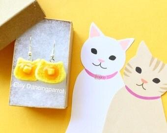 Cat pancake earrings Handmade cat earrings Cute cat lover gift Kawaii cat jewelry Pancake earrings Food earrings Unique gift for cat lovers