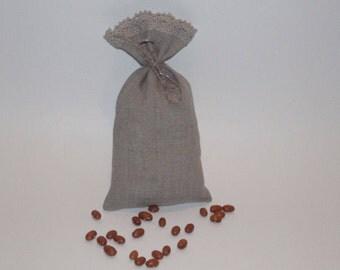 """Linen Cloth Gift Bags * Linen Favor Bags * Natural Linen Bags with Linen Lace * Set of 10 Bags * Size 4.7"""" x 6"""" ( 12cm x 15cm)"""