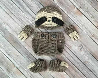 Baby Sloth Outfit, Sloth Costume,Baby Halloween Costume, Hat, Diaper Cover, Booties and Mittens with Claws, Photography Prop, New Mom Gift