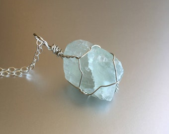 Light Green Fluorite Necklace, Raw Crystal Necklace, Healing Crystal, Boho Jewelry, Sterling Silver, Wire Wrapped