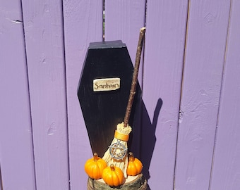 Samhain Decoration, Wooden Decor, Coffin Centerpiece, Miniature Broomstick, Besom Broom, Witch Ornament, Halloween Pumpkins