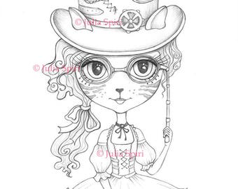 Coloring Pages, Digital stamp, Digi, Cat, Girl, Steampunk, Fantasy, Whimsical, Crafting, Cardmaking.  The Cat Girl Serie. Lulu Cat Girl