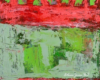 Red & Green Abstract Painting. Original Acrylic Art. Mixed Media Collage. Birthday Gift for Husband's Birthday. Home Wall Art