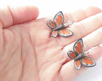 Butterfly earrings Monarch Butterfly Mahaon butterfly polymer clay jewelry butterfly jewelry gift for her insect jewelry OOAK insect earring
