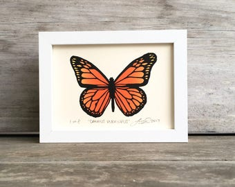 Monarch Butterfly Linocut Print - Full Color