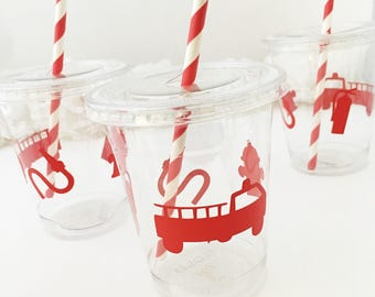 Fireman Party Cups - Firetruck Birthday Party, Firefighter Birthday, Fire Truck Party, Firetruck Party Favors, Fireman Birthday Decorations
