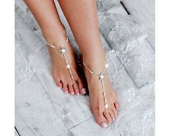 Starfish Beaded Barefoot Sandals, Anklet, Beach Wedding Barefoot Sandal,  Pearl Barefoot Shoes,