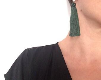 Statement earrings/ Tassel earrings/ Party earrings/ Gold plated earrings/ Green earrings/ Gift idea/ Long earrings/ Fashion earrings