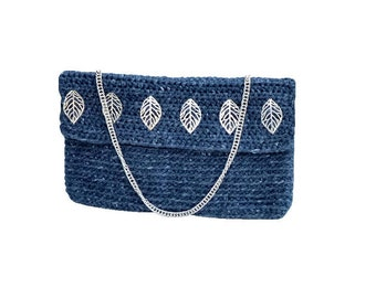 Denim handbag. Shoulder denim bag. Blue denim Clutch. Handknit bag clutch. Casual clutch. Craft blue handbag. Jean handbag. Gift bag for her