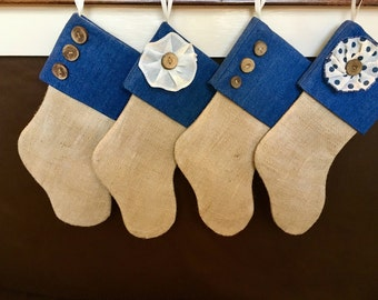 4 Denim Burlap Stockings - Flower and Button Brown Burlap Stocking - Blue Burlap Stocking - NO Name Tag - Personalized Burlap Stocking