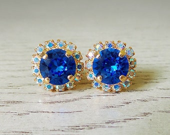 September birthday, Blue sparkly earrings, Sapphire earrings, Swarovski Crystal, Blue jewelry, September birthstone, nickel free earrings