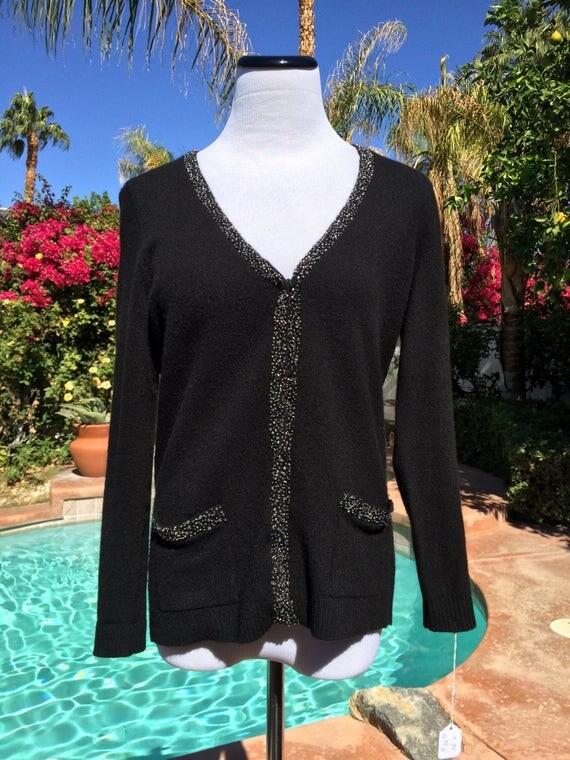 Talbots  Black Lambswool/Nylon/Angora Sweater with Crystal Bead Embellishments,Size SP.