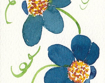 ACEO Original Blue Flower Watercolor painting,Original Small Painting,Original Aceo,Free Shipping,Flower Card,aceo art,Unique Special Gift,