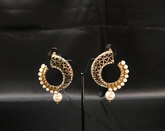 Indian Jewelry - Chandbali Earrings - Polki Jewelry - Indian Bridal - Pakistani Jewelry - Pakistani Bridal - South Indian - Temple Jewelry -