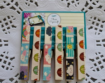 6 wooden clothes peg magnet set, weather theme with umbrellas, rainbows, snow, clouds, lightning & sun, wooden pegs, meteorologist gift set