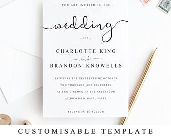 Wedding invitation template etsy print at home wedding invitation template diy wedding invitation instantly printable wedding invitation template stopboris Image collections