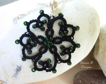 Black heart tatted pendant necklace, gothic pendant, gothic jewellery, flower pendant, birthday gift, tatting, lace pendant, boho jewellery