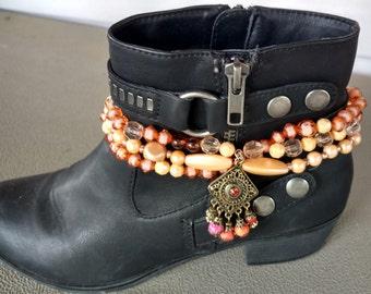 Pearl Boot Anklet, Pearl Boot Bracelet, Pearl Boot Jewelry, Peach Boot Anklet, Boot Anklet, Boot Bracelet, Boot Jewelry, Boot Bling,