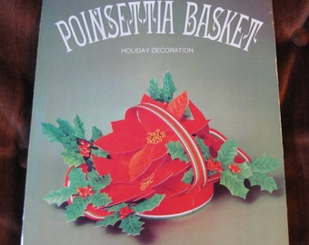 "Vintage Poinsettia Basket Paper Christmas Holiday Table Centerpiece Decoration American Greetings NOS! 1981 6"" Tall UNOPENED!"