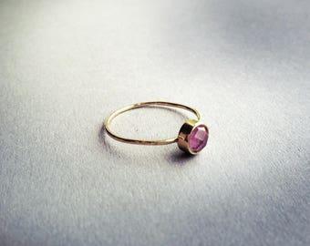 Handmade golden dioptase doublet ring