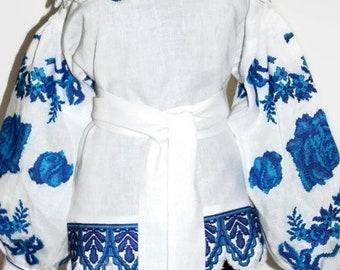Embroidered Blouse Shoulder Off Vyshyvanka Bohemian Clothing Vishivanka Boho Clothes Ukrainian Embroidery Cobalt Blue Ukraine Tunic