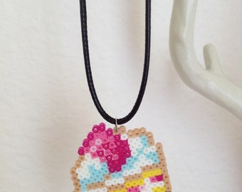 Mini Perler Bead Charm - Slice of Cake
