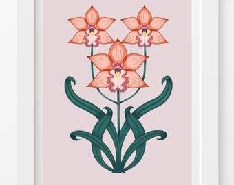 Orchids Print / Orange Orchids Print / Orange Flowers Illustration / Flower Print
