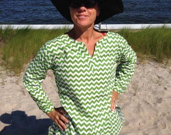 100% cotton chevron top, summer tops women, summer tops for women, summer tops, tunic tops women, womens tunic shirt, green and white tunic