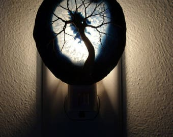 Copper Wire Tree Of Life Metal Art Sculpture On A Blue Agate Stone Crystal Nightlight