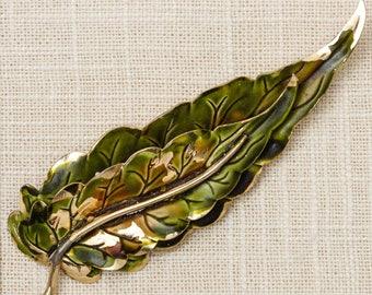 Green Enamel Leaf Brooch Vintage Gold Leaf Broach Costume Jewelry Vtg Pin 7M