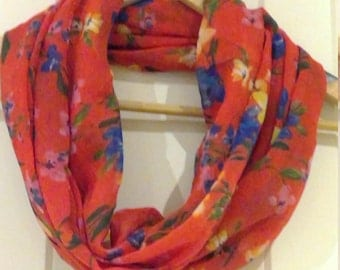 Infinity red floral scarf - loop endless circle scarf - tube eternity blue flowers watercolour effect