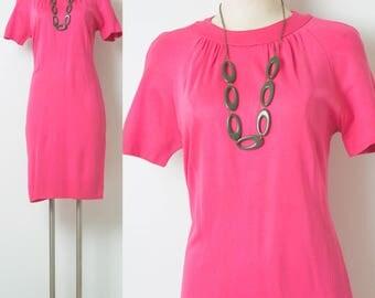 Mod Dress, Vintage Pink Dress, 60s Pink Dress, Bright Pink Dress, Neon Pink Dress, Mad Men Dress, Vintage shift Dress, 60s Knit dress - M/L