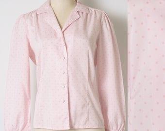 60s Top, Vintage Pink Top, Mad Men Top, Light Pink Top, Vintage polka dot top, Pink Polka Dot Top, 60s Blouse, Vintage Pink Blouse - S/M