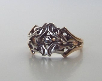Antique Georgian diamond, silver and yellow gold ring