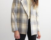 Retro Plaid Blazer // 1970's Medium Yellow and Gray Plaid Print Wool Blazer // Women's Vintage Clothing