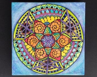 Schilderij, kleurrijke zentangle mandala