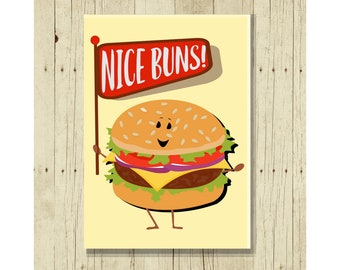 Nice Buns Funny Magent, Hamburger Lover, Hostess Gifts Under 10, Pun, Punny, Cartoon, Picnic Art, BBQ Decor, Fridge, Refrigeratorm, Food