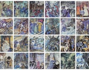 The Three Musketeers - Alexandre Dumas - Artist L. Nepomnyashchy -- Set of 32 Vintage Soviet Postcards, 1987. Literature illustration prints