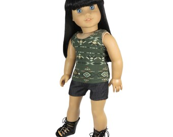 Fits Like American Girl Doll Clothes.  Green Tribal Tank Top and Black Shorts.
