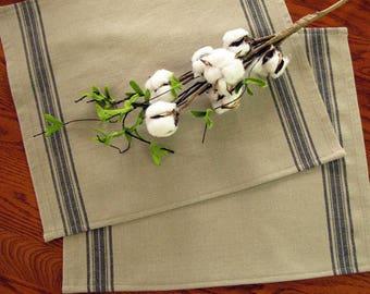 Farmhouse Grain Sack Placemats - Grainsack Placemats - #2 Black Stripe and Taupe