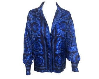 GIANNI VERSACE Vintage 1980s Blue Baroque Print Silk Shirt 80s style Medusa Button Blouse Floral Couture Top