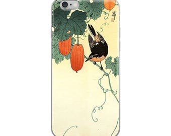 Japanese bird iPhone case, Asian woodblock print, great for bird lovers, nature lovers, and plant lovers!